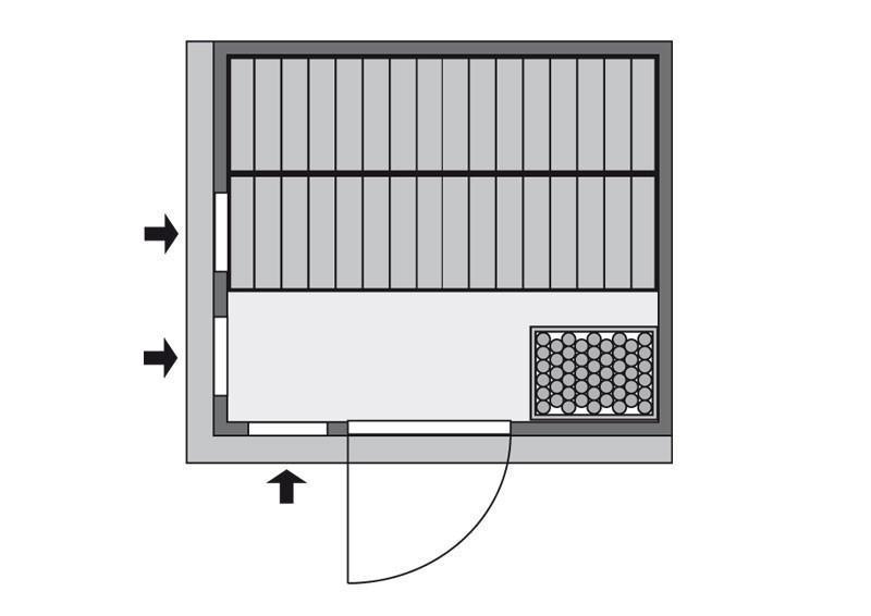 Karibu Heimsauna Sodin (Fronteinstieg)   Ofen 9 kW Bio externe Strg easy mit Dachkranz 68 mm Systemsauna
