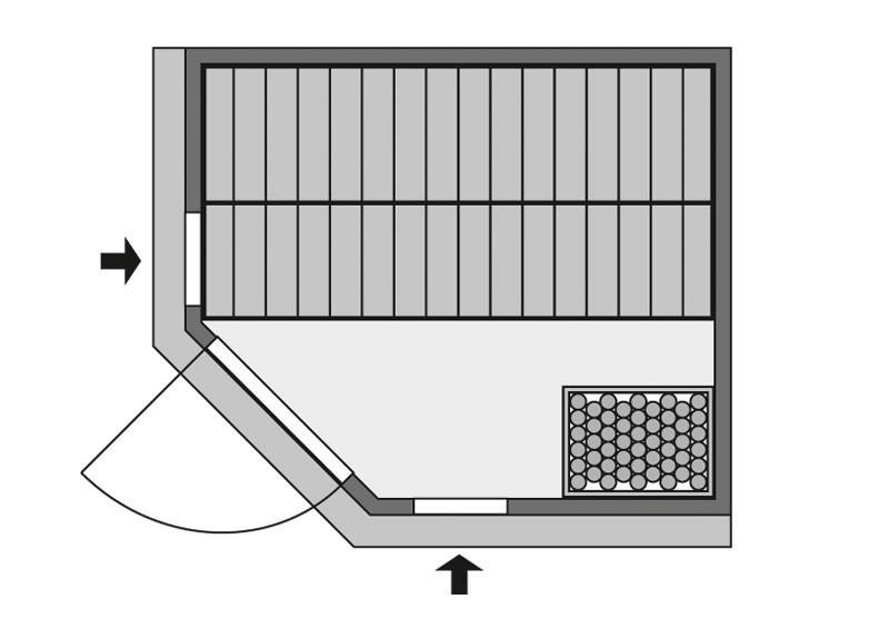 Karibu Heimsauna Siirin (Eckeinstieg) Ofen 9 kW integr. Strg  mit Dachkranz 68 mm Systemsauna