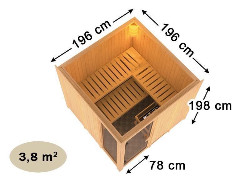 Karibu System Sauna Helin (Fronteinstieg) 68 mm  inkl. Ofen 9 kW Bio-Kombi ext. Steuerung