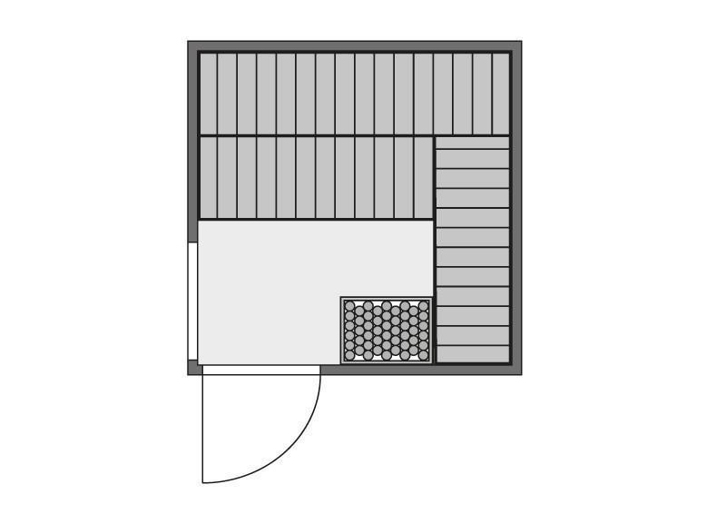 Karibu System Sauna Helin (Fronteinstieg) 68 mm mit Dachkranz inkl. Ofen 9 kW Bio-Kombi ext. Steuerung