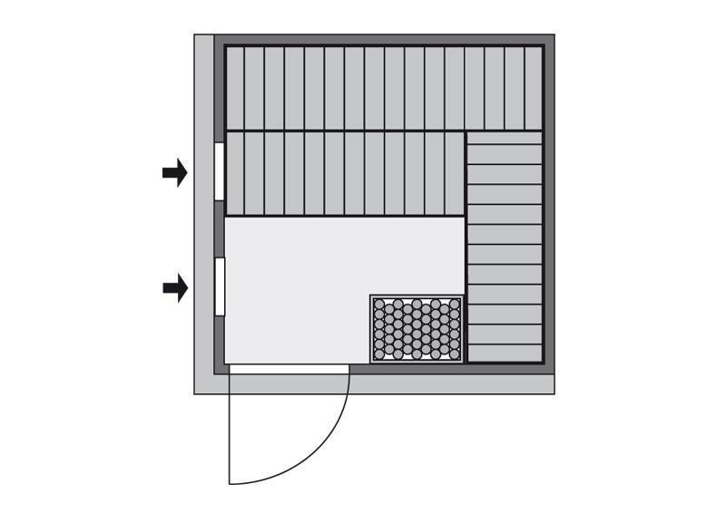 Karibu System Sauna Rodin Classic (Fronteinstieg) 68 mm inkl. Ofen 9 kW mit integr. Steuerung