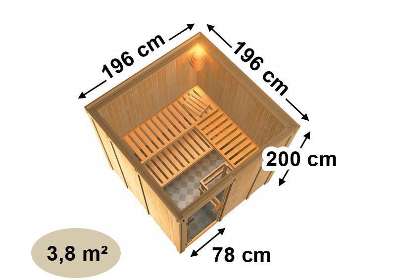 Karibu System Sauna Rodin Classic (Fronteinstieg) 68 mm inkl. Ofen 9 KW ext. Steuerung