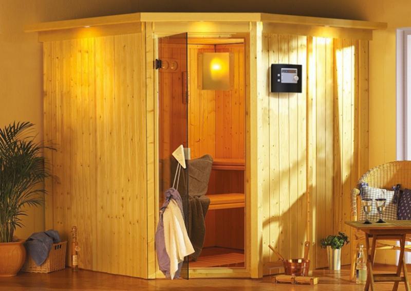 Karibu System Sauna Jarin Classic (Eckeinstieg) 68 mm mit Dachkranz inkl. Ofen 9 KW ext. Steuerung
