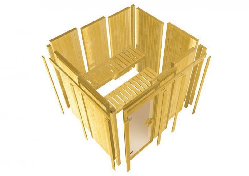 Karibu System Sauna Jarin Classic (Eckeinstieg) 68 mm mit Dachkranz inkl. Ofen 9 kW Bio-Kombi ext. Steuerung