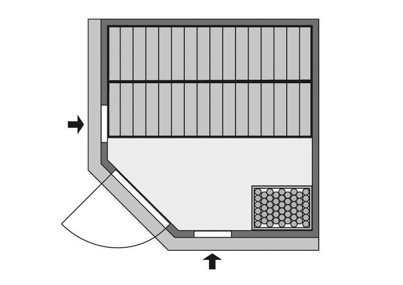 Karibu Heimsauna Jarin (Eckeinstieg) Ofen 9 kW Bio externe Strg easy mit Dachkranz 68 mm Systemsauna
