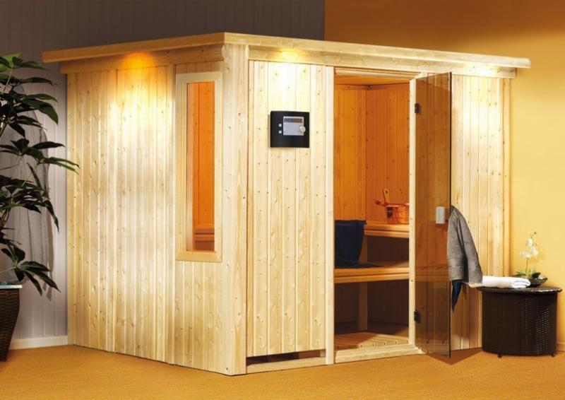 Karibu System Sauna Gobin Classic (Fronteinstieg) 68 mm mit Dachkranz inkl. Ofen 9 kW mit integr. Steuerung
