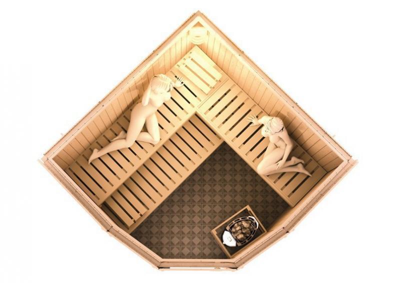 Karibu Heimsauna Simara 3 (Eckeinstieg) Ofen 9 KW externe Strg easy Kein Kranz 68 mm Systemsauna