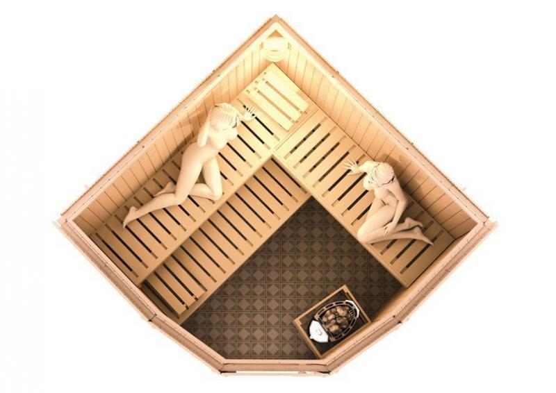 Karibu Heimsauna Simara 3 (Eckeinstieg) Ofen 9 kW Bio externe Strg easy Kein Kranz 68 mm Systemsauna