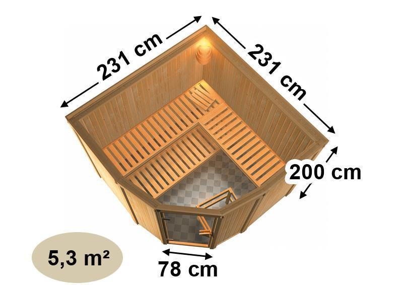 Karibu Heimsauna Simara 3 (Eckeinstieg) Ofen 8 kW integr. Strg und Fenster Kein Kranz 68 mm Systemsauna