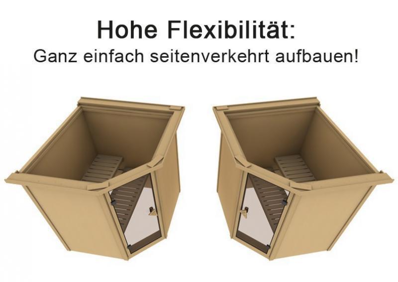 Karibu Heimsauna Fiona 2 (Eckeinstieg)  Ofen 9 kW Bio externe Strg easy Kein Kranz 68 mm Systemsauna