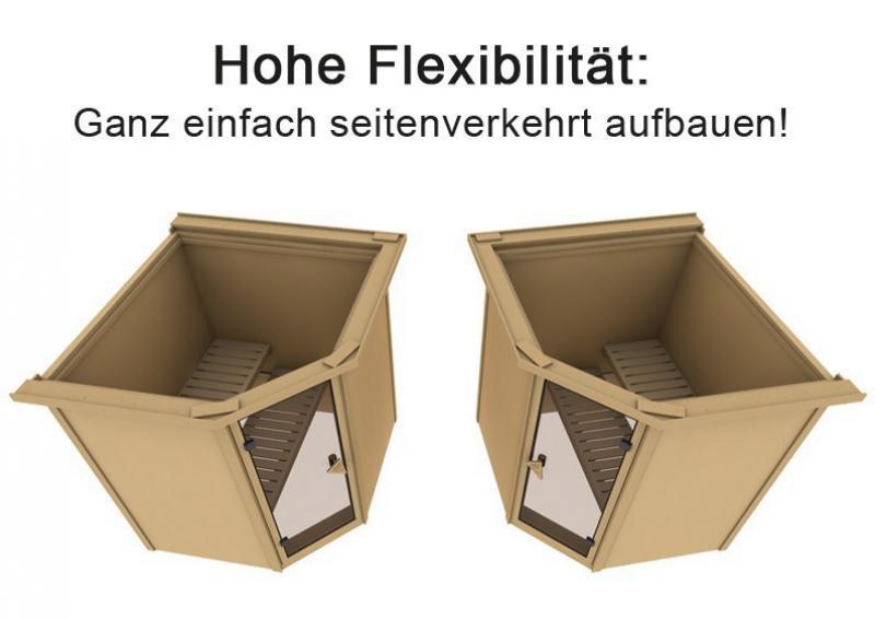 Karibu Heimsauna Fiona 2 (Eckeinstieg)  Ofen 9 kW integr. Strg  mit Dachkranz 68 mm Systemsauna