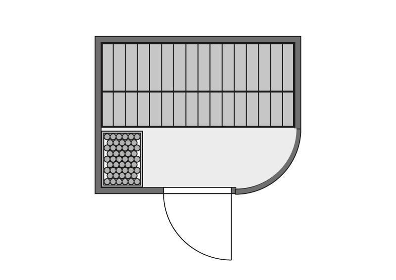 Karibu System Sauna Titania 3 (Fronteinstieg) 68 mm inkl. Ofen 9 kW mit integr. Steuerung