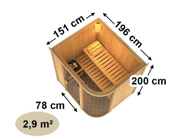 Karibu Heimsauna Parima 2 (Fronteinstieg) Ofen 9 kW integr. Strg  Kein Kranz 68 mm Systemsauna