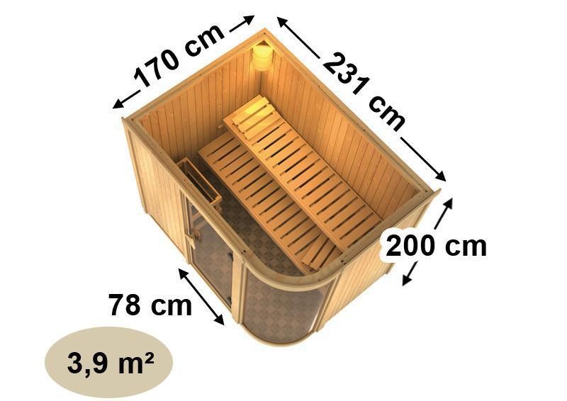 Karibu Heimsauna Parima 4 (Fronteinstieg) Ofen 9 kW integr. Strg  Kein Kranz 68 mm Systemsauna
