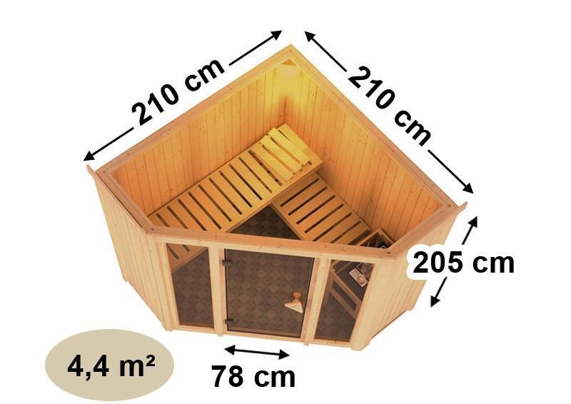 Karibu Heimsauna Flora 1 Ganzglas (Fronteinstieg) Ofen 9 kW integr. Strg  mit Dachkranz 68 mm Systemsauna