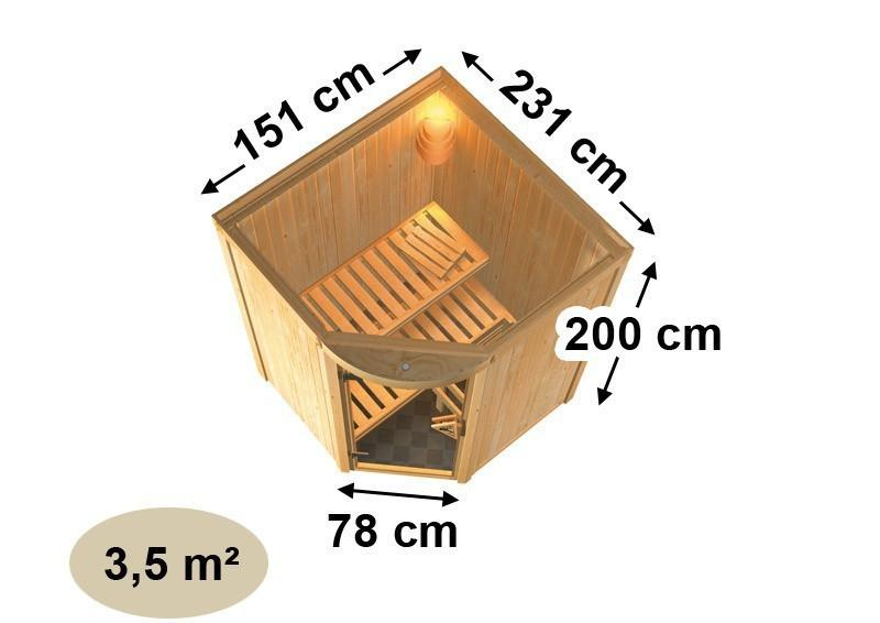Karibu System Sauna Asmada (Rundeinstieg) 68 mm inkl. Ofen 9 kW mit integr. Steuerung