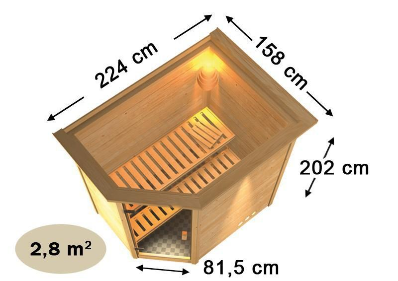 karibu massiv sauna 230 volt cilja eckeinstieg 38 mm mit dachkranz inkl ofen 3 6 kw bio kombi. Black Bedroom Furniture Sets. Home Design Ideas