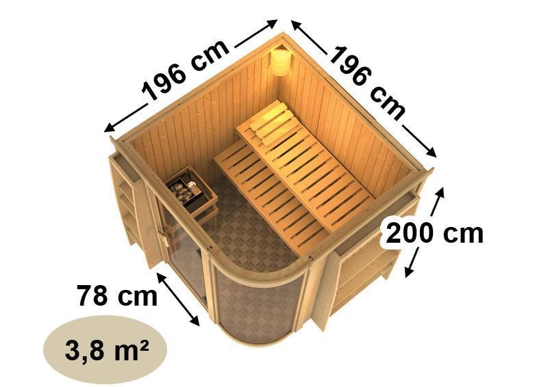 Karibu System Sauna Parima 3 (Fronteinstieg) 68 mm ohne Zubehör