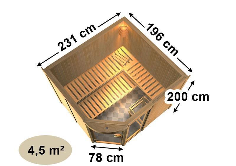 Karibu System Sauna Lakura (Rundeinstieg) 68 mm
