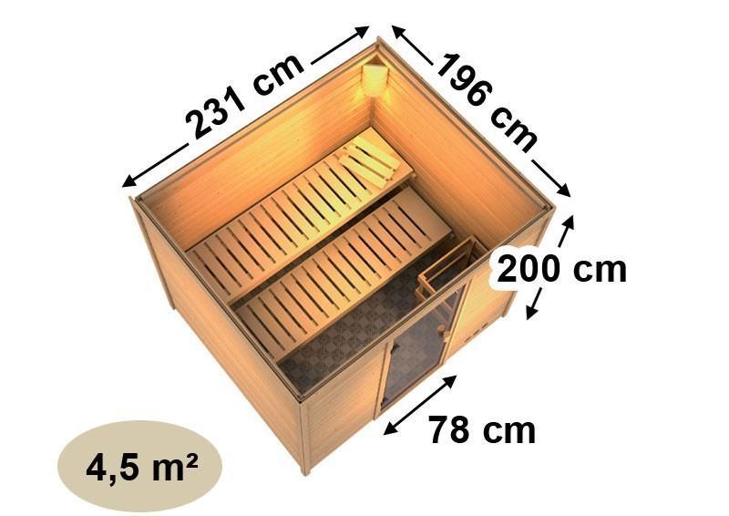 Woodfeeling 38 mm Massiv Sauna Karla Classic (Fronteinstieg) ohne Dachkranz mit graphitfarbender Ganzglastür