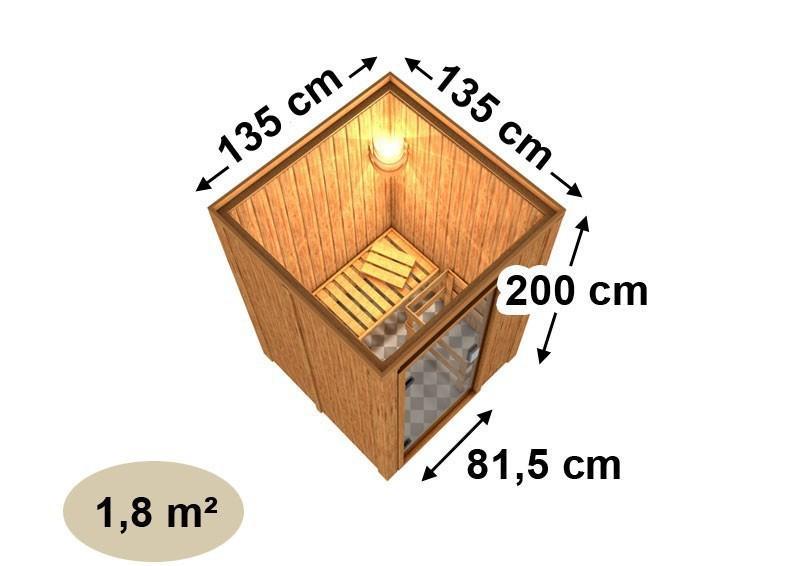 Karibu Heimsauna Lenja( Fronteinstieg) ohne Zubehör Kein Kranz Plug & Play 230Volt Sauna