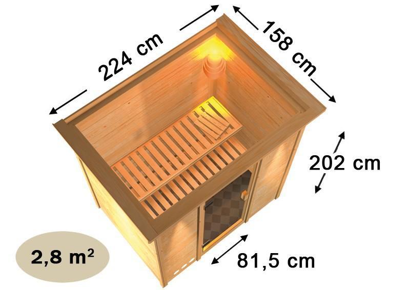 Karibu Heimsauna Ronja (Fronteinstieg) ohne Zubehör Kein Kranz Plug & Play 230Volt Sauna