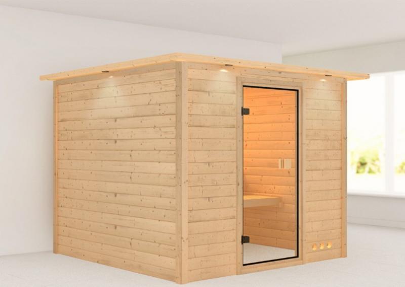 Woodfeeling 38 mm Massiv Sauna Nora Classic (Fronteinstieg) mit Dachkranz