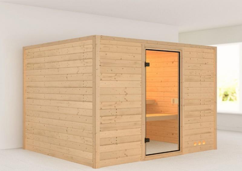 Woodfeeling 38 mm Massiv Sauna Karla Classic (Fronteinstieg)