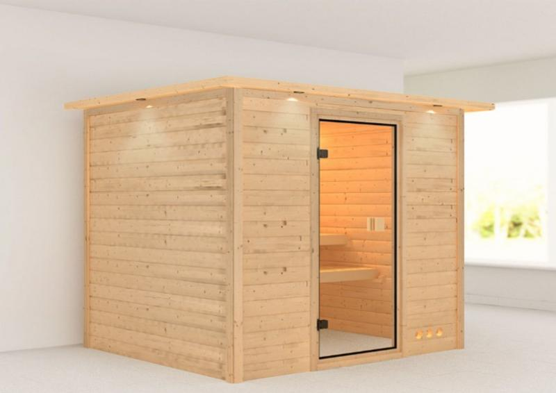 Woodfeeling 38 mm Massiv Sauna Anja Classic (Fronteinstieg) mit Dachkranz