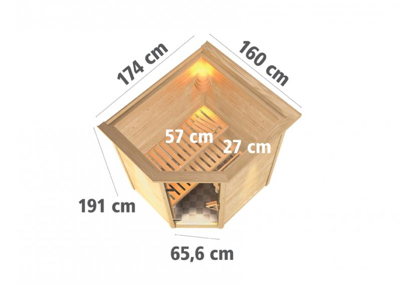Woodfeeling 38 mm Massiv Sauna Aurel Classic (Eckeinstieg) für niedrige Räume mit Dachkranz