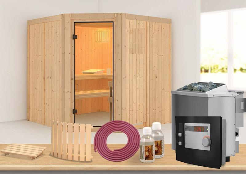Karibu Systembau Sauna Bodo Classic (Eckeinstieg) 68 mm inkl. Ofen + ext. Strg. und Zubehör