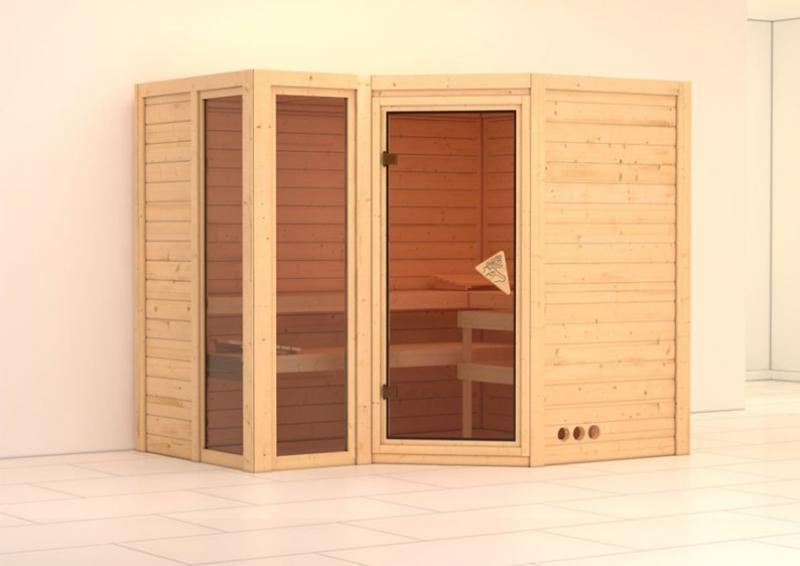 karibu massiv sauna amara eckeinstieg 40 mm ohne zubeh r. Black Bedroom Furniture Sets. Home Design Ideas