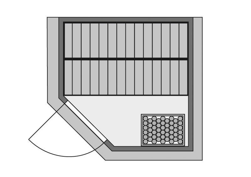 Woodfeeling 38 mm Massiv Sauna Lucie Classic (Eckeinstieg) für niedrige Räume mit Dachkranz