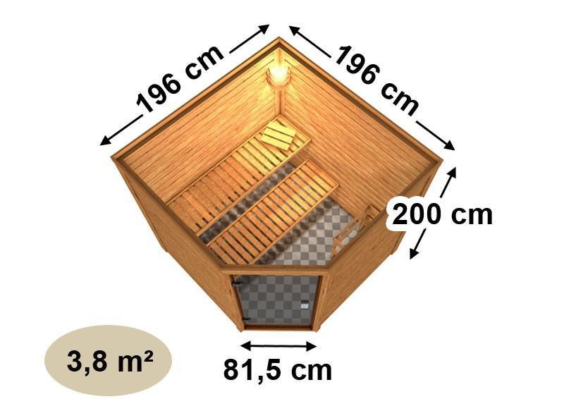 Woodfeeling 38 mm Massiv Sauna Nina Classic (Eckeinstieg) ohne Dachkranz mit graphitfarbender Ganzglastür