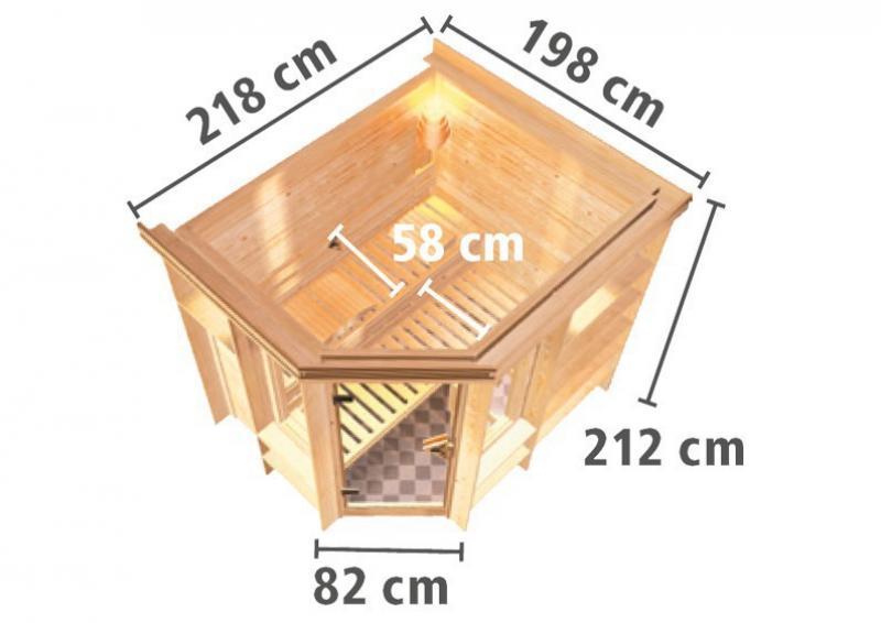 Karibu Massiv Sauna Cortona (Eckeinstieg) 40 mm mit Dachkranz ohne Zubehör