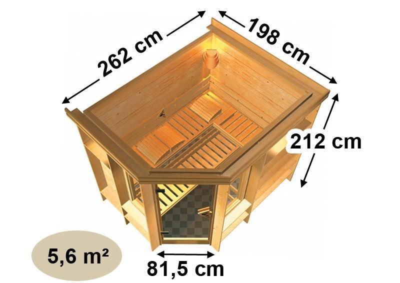 Karibu Massiv Sauna Riona (Eckeinstieg) 40 mm mit Dachkranz ohne Zubehör