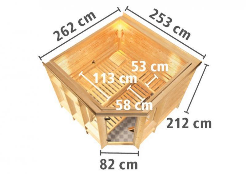 Karibu Massiv Sauna Marona (Eckeinstieg) 40 mm mit Dachkranz  ohne Zubehör