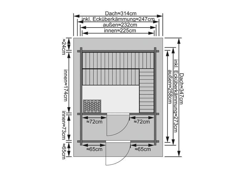 Karibu Gartensauna Saunahaus 2 mit Satteldach und Vorraum