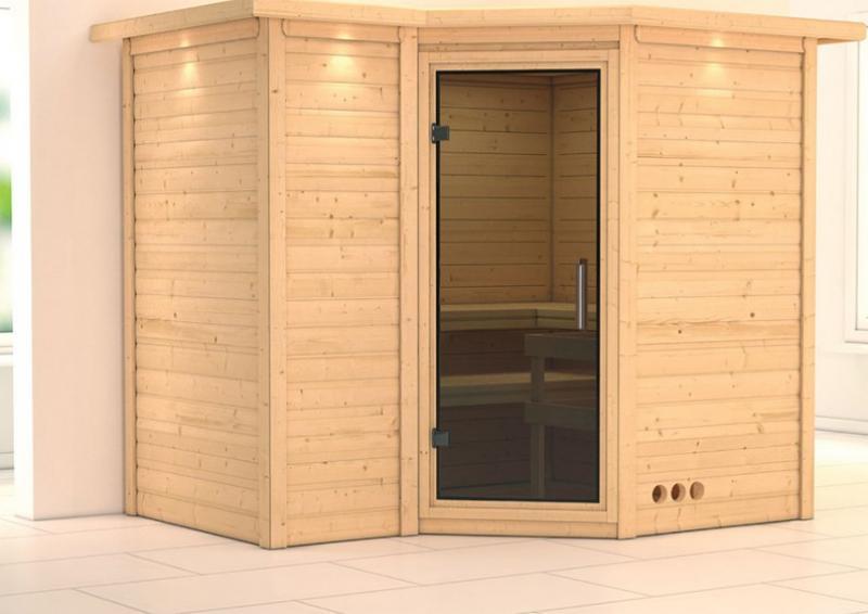 karibu massiv sauna sahib 2 modern eckeinstieg 40 mm mit dachkranz ohne zubeh r. Black Bedroom Furniture Sets. Home Design Ideas