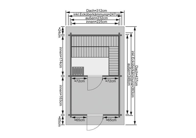 Karibu Gartensauna Saunahaus 3 mit Satteldach und Vorraum