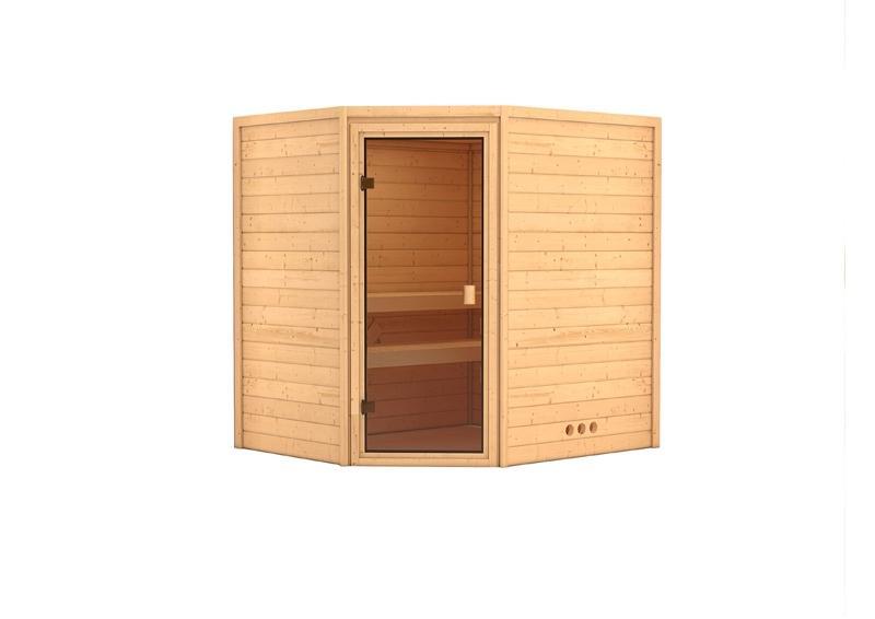 Sauna-Spar-Set: Karibu Scandic Sauna 38 mm Massiv Vaasa 2 inkl. 9 KW Ofen ext. Strg. und Zubehör - Selbstbausatz