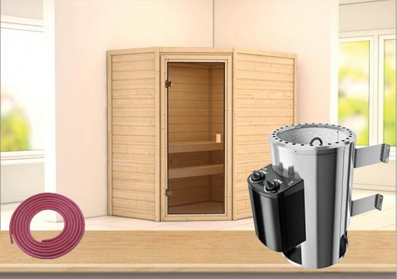 sauna spar set karibu scandic sauna 38 mm massiv malm 2. Black Bedroom Furniture Sets. Home Design Ideas