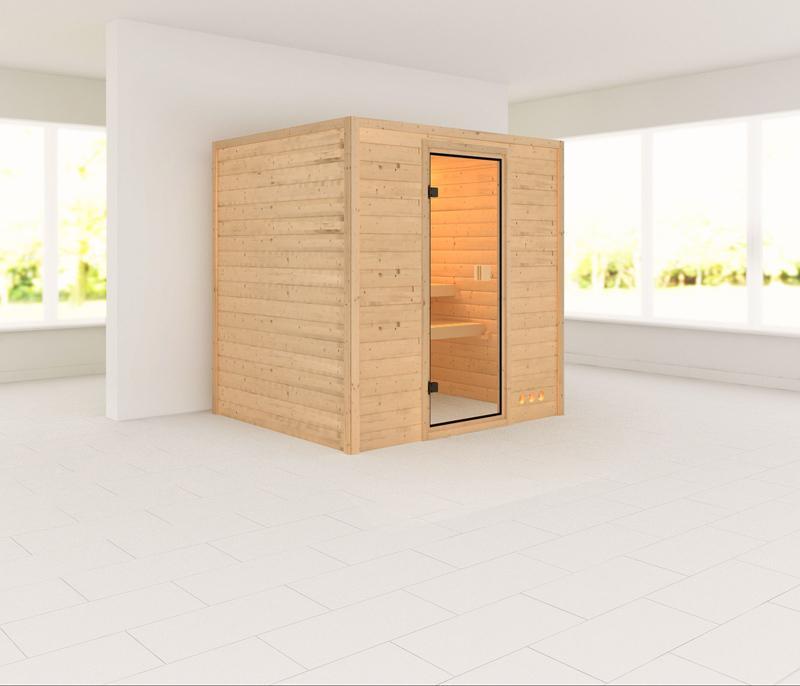 Sauna-Spar-Set: Karibu Scandic Sauna 38 mm Massiv Malmö 3 inkl. 9 KW Ofen int. Strg. und Zubehör - Selbstbausatz