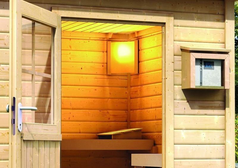 Sauna-Spar-Set: Karibu Scandic Pultdach Saunahaus 38 mm Massiv Göteborg 2 (Maße: 231x231 cm) inkl. 9 KW Finnisch-Ofen ext. Strg. und Zubehör inkl. Kabelsatz - Selbstbausatz