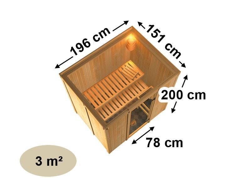 Karibu System Sauna Bodin Classic (Fronteinstieg) 68 mm ohne Zubehör mit Dachkranz
