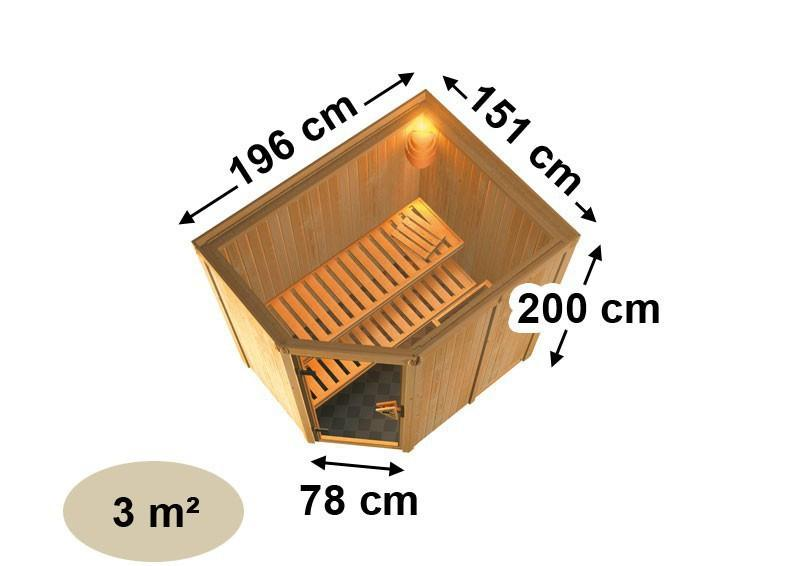 Karibu System Sauna Carin Classic (Eckeinstieg) 68 mm mit Dachkranz ohne Zubehör