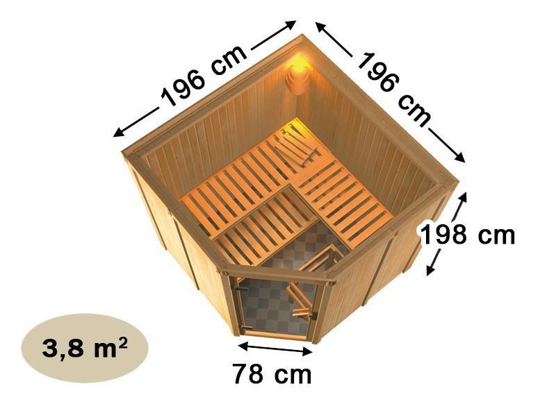 Karibu Heimsauna Jarin (Eckeinstieg) ohne Zubehör mit Dachkranz 68 mm Systemsauna