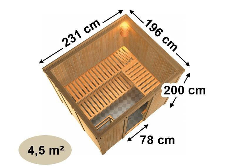 Karibu System Sauna Gobin Classic (Fronteinstieg) 68 mm ohne Zubehör mit Dachkranz