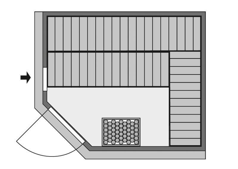 Karibu System Sauna Malin Classic (Eckeinstieg) 68 mm ohne Zubehör mit Dachkranz
