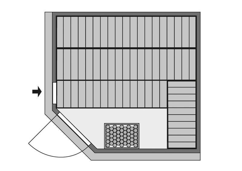 Karibu System Sauna Farin (Eckeinstieg) 68 mm mit Dachkranz